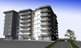 3D render of modern residential building Stock Photography