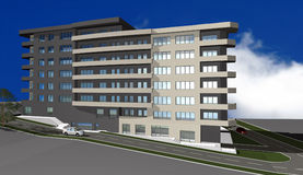3D render of modern residential building Royalty Free Stock Photography