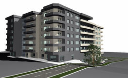 3D render of modern residential building Stock Images