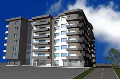 3D render of modern residential building Royalty Free Stock Photo