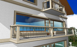 3D render of modern residential house Stock Images