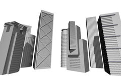 3D render of modern skyscrapers stock illustration