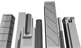 3D render of modern skyscrapers royalty free illustration