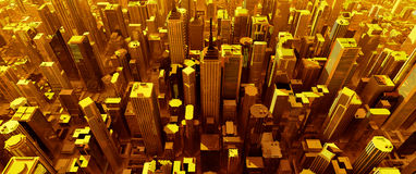 3D Render Of Pure Gold City Royalty Free Stock Image