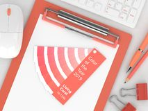 Free 3d Render Of Stationery With Living Coral Color Palette Guide Stock Photo - 134184440