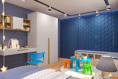 3d Render Of The Children`s Bedroom Interior In Deep Blue Color. Royalty Free Stock Image