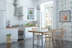 Free 3d Render Of The Scandinavian Apartment With Kitchen Stock Photography - 145635862