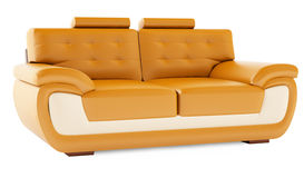 3D render orange sofa on a white background Stock Photography