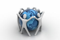 3d render of people around globe Royalty Free Stock Photo