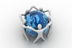 3d render of people around globe Stock Images