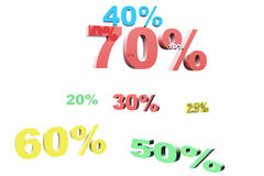 3d render of percent set Stock Photos