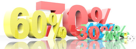 3d render of percent set Royalty Free Stock Image