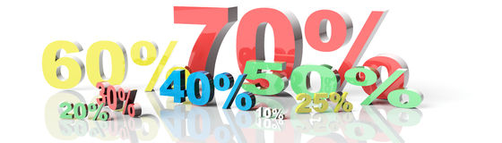 3d render of percent set Royalty Free Stock Photo