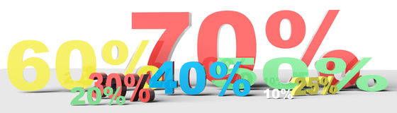 3d render of percent set Stock Images