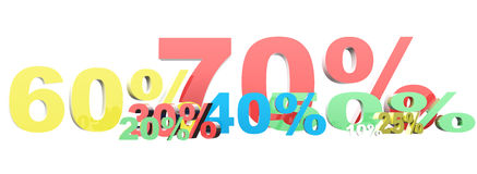 3d render of percent set. Royalty Free Stock Photography
