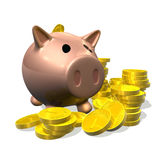 3d render piggy bank and coins illustration Royalty Free Stock Photo