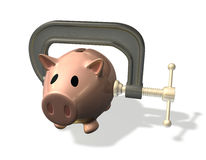 3d render piggy bank credit crunch. 3d render piggy bank in vice representing the credit crunch or financial difficulty vector illustration