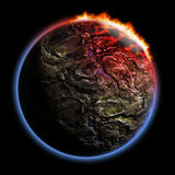 3D render planet with fire corona effect. 3D render of earth typed planet with fire corona atmosphere effect isolated on black background. Exellent material for Royalty Free Stock Photo