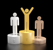 3d render of a podium. Consisting three cylinders with different heights made from bronze, silver and gold, with three stick men in matching colors on top Stock Image