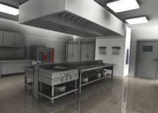 3d render of professional restaurant kitchen inter Stock Photography
