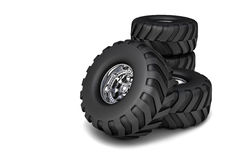 3D render RC toy truck tires. On the white background Stock Image