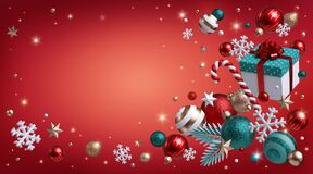 Free 3d Render, Red Background With Christmas Ornaments, Glass Balls, Snowflakes, Candy Cane, Gift Box, Sparkling Stars, Glowing Lights Royalty Free Stock Photography - 192942547