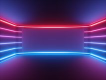 Free 3d Render, Red Blue Neon Light, Glowing Lines, Blank Horizontal Screen, Ultraviolet Spectrum, Empty Room, Abstract Background Royalty Free Stock Photos - 144230288