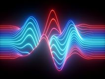 Free 3d Render, Red Blue Wavy Neon Lines, Electronic Music Virtual Equalizer, Sound Wave Visualization, Ultraviolet Light Abstract Stock Photography - 144229142