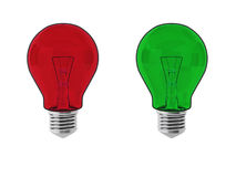 3d render of red and green lightbulbs. On white Stock Photography