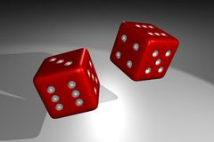 3D render of rolling red dice. With dramatic spotlight lighting stock illustration