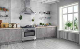 Free 3d Render - Scandinavian Flat - Kitchen Stock Photography - 76275512