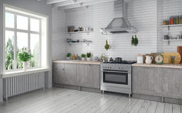 Free 3d Render - Scandinavian Flat - Kitchen Stock Image - 76275541