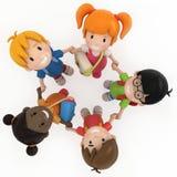 3D Render of School Kids Holding Hands. Illustration of kids with bags holding hands vector illustration