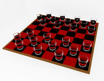3d Render Shot Glass Checkers Royalty Free Stock Images