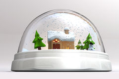 A 3D render of a snowglobe. Close-up and isolated on white background Royalty Free Stock Photography