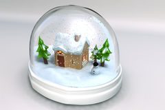 A 3D render of a snowglobe. Close-up of the scenery christmas, isolated with white background Royalty Free Stock Photo