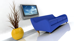 3d render of sofa and tv Royalty Free Stock Images