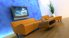 3d render of sofa and tv Royalty Free Stock Photo