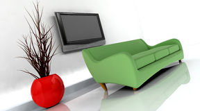 3d render of sofa and tv Stock Photo