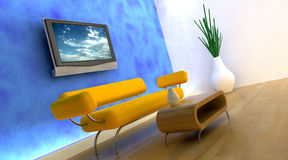 3d render of sofa and tv Royalty Free Stock Photography