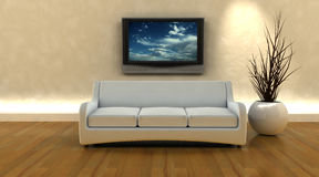 3d render of sofa and tv Royalty Free Stock Image