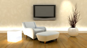 3d render of sofa and tv Stock Image