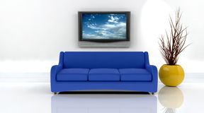 3d render of sofa and tv Royalty Free Stock Photos