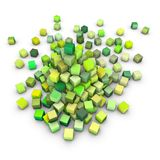 3d render stack of green cubes on white Royalty Free Stock Image