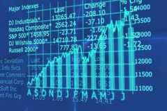 3d Render Stock Market Graph With Going Up Arrow Stock Photography
