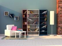 3d render study room, modern room