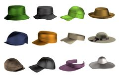 3d render of summer hats Royalty Free Stock Image