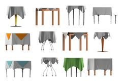 3d render of table with tablecloth Royalty Free Stock Photo