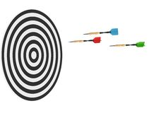 3D render of three darts and board Stock Photo