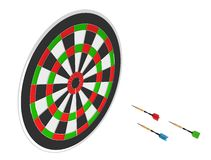 3D render of three darts and board Royalty Free Stock Photography
